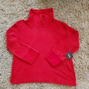 Rafaella Chenille Ribbed Cowneck Ruby Red Sweater